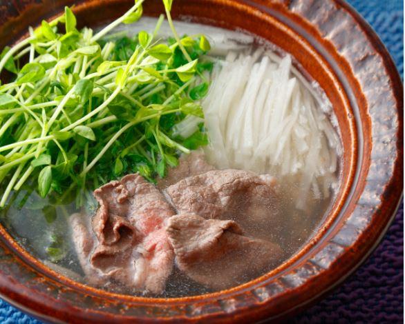 大根と豆苗、牛しゃぶ鍋