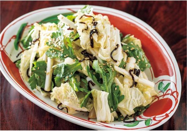 白菜と春菊の塩昆布サラダ