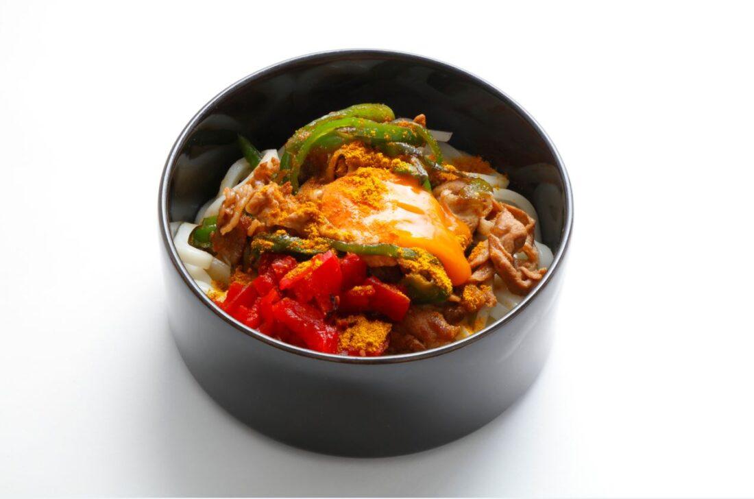 豚肉と福神漬けのカレー和え麺